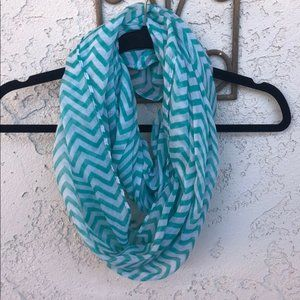 Turquoise and White Chevron Infinity Scarf